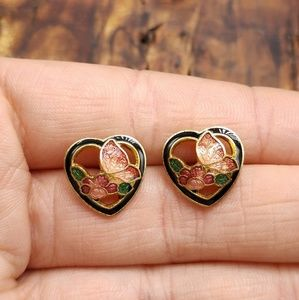 NWT Vintage cloisonne butterfly heart Asian